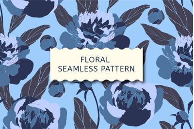 Floral seamless pattern. Blue peonies.