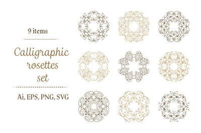 Calligraphic  rosettes set