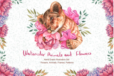 Watercolor Flowers and Animals SET
