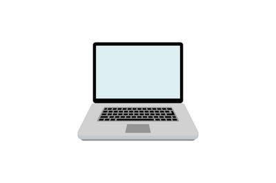 Laptop flat isolated