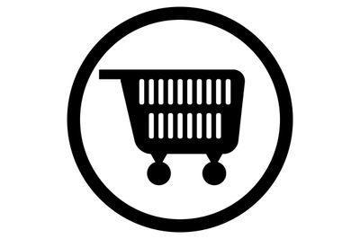 Cart for supermarket icon black white