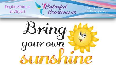 Bring Your Own Sunshine Stamp, Digital Stamp, Sunshine Stamp, Instant