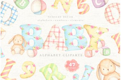 Baby Alphabets Watercolor Clip Arts
