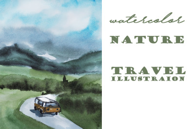 watercolor nature and landscape simple travel illustration