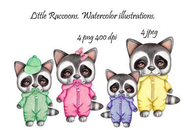 Little Raccoons. Watercolor illustrations.