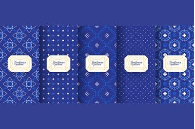Portuguese azulejo tiles. Azulejo Seamless patterns, azulejo