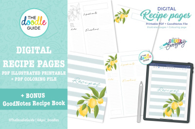 Digital Recipe Pages - PDF + GoodNotes