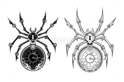 Monochrome Mechanical Spider Steampunk