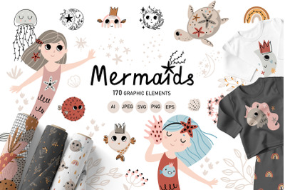Mermaids - Kids collection, Nursery Art Big Bundle