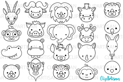 African Animal Faces Clipart, Safari Animals Digital Stamps