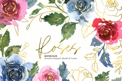 Watercolor Flowers Blue Red Gold (elements, bouquets, frames, wreath)