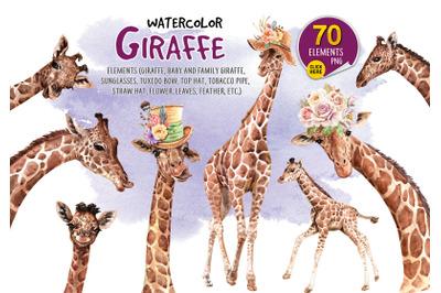 Giraffe watercolor, Paint clip art