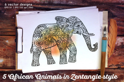 5 African Animals set