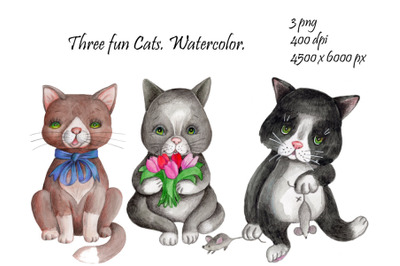 Three fun Cats. Watercolor.