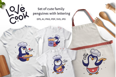 Penguines is a chef. Apparel designs