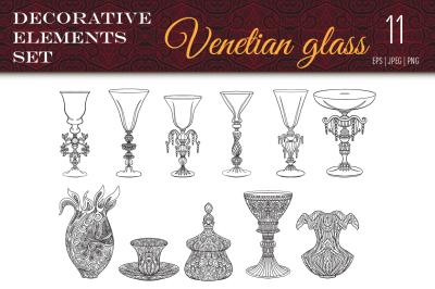 11 Venetian Glass set