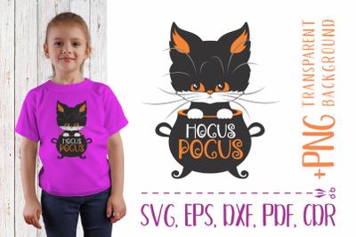 Hocus pocus SVG with black cat