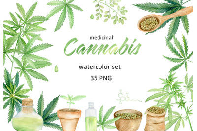 Cannabis leaves and products watercolor clipart set.