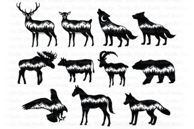 Animals & Mountain SVG Cut Files. Wildlife Svg, Adventure, Wilderness.