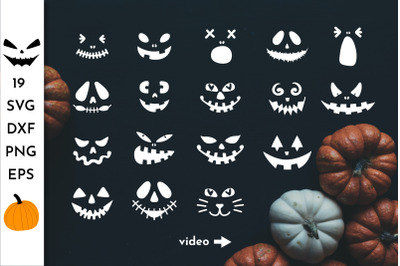 Pumpkin Faces. Halloween SVG. Jack o lantern face SVG. Scary faces.