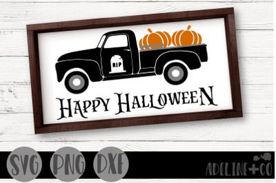 Happy Halloween truck, SVG, PNG, DXF