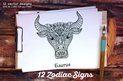 12 Zodiac sign set