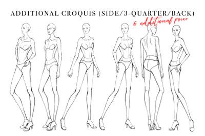 Side/3-Quarter/Back Pose Fashion Female Croquis Pack