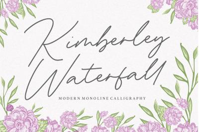 Kimberley Waterfall Modern Monoline Calligraphy Font