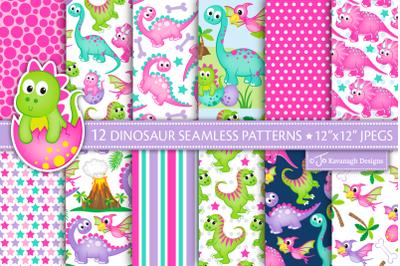 Dinosaur Digital Paper, Girl Dinosaur Patterns -P50