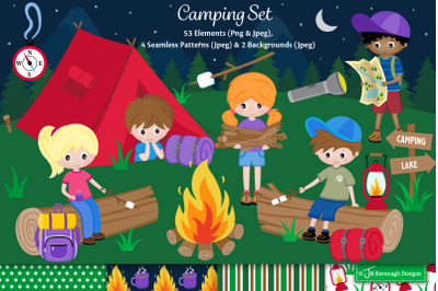 Camping clipart, Camping graphics & illustrations, Summer camp -C47