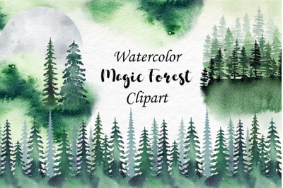 Watercolor Magic Forest Clipart