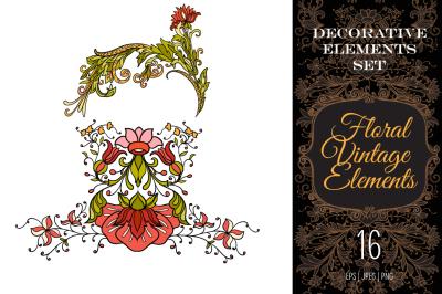 16 floral elements set