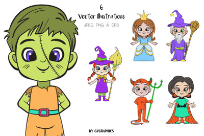 6 Hand Drawn Halloween Characters Vector Illustrations