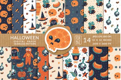 Happy Halloween. Seamless patterns. JPEG, EPS.