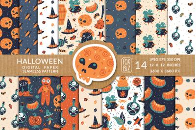 Happy Halloween. Seamless patterns. JPEG, EPS.