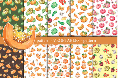 Vegetables watercolor digital paper.  Seamless patterns with pumpkins.