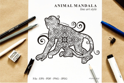 Monkey Mandala Vector Line Art Style 01