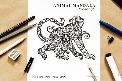 Monkey Mandala Vector Line Art Style 02