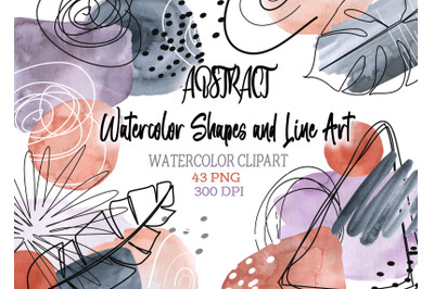 Abstract Neutral Watercolor  stains Shapes Clip art Modern Line Art De