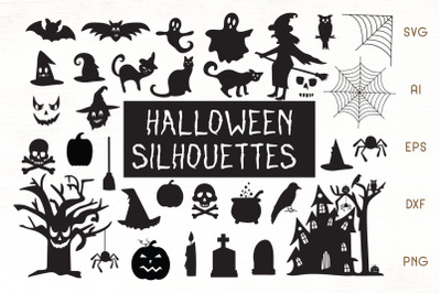 Halloween Silhouettes SVG - Halloween Vector Cliparts