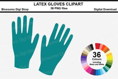 Latex Gloves Sticker Clipart, 36 files, multi colours