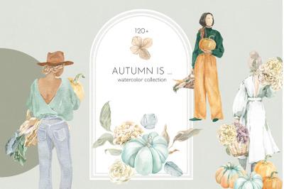 Autumn Women & Harvest Watercolor Collection