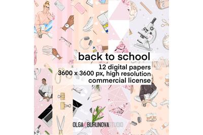 School pattern, back to school digital paper, student pattern, college