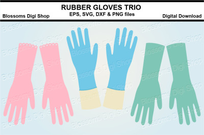 Rubber gloves SVG, EPS, DXF and PNG cut files
