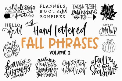 Fall Phrases Symbol Font - Fall Quotes - Autumn - Hand Lettered