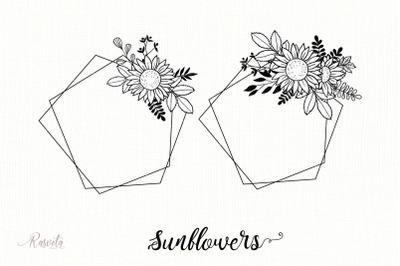 Geometric Frames, Sunflower & Plants