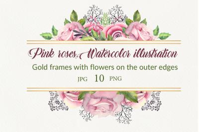 Pink roses. Watercolor frames
