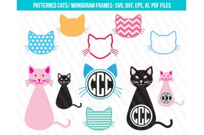 Cat SVG, Kitty Svg, Cat face svg, Kitten svg, Cat monogram svg