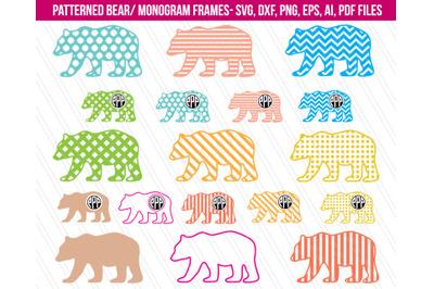 Bear Svg, Patterned Bear clipart, Nursery decor, bear clipart, animal