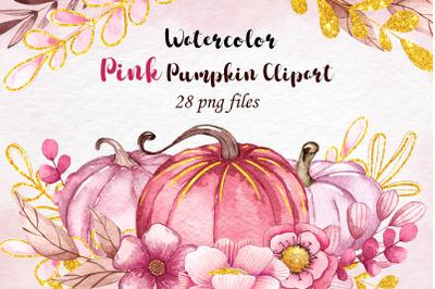 Watercolor Pink Pumpkin clipart